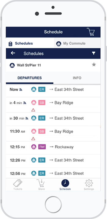 Buy Tickets for NYC Ferry with your app